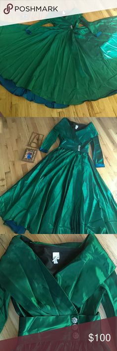 Vintage and Stunning Scarlett O'Hara Gown Damage from skirt being tacked up for English country dance ball 😊 I posted a picture of the spot where the tack caused the most damage but not visible when skirt fall naturally while on. Satin  taffeta. Stunning emerald green. Watters Dresses