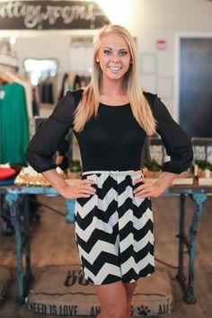 Dottie Couture Boutique - Chevron Dress- Black/Ivory, $39.00 (http://www.dottiecouture.com/chevron-dress-black-ivory/)