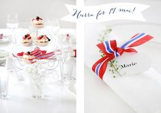 17.mai - Fru Fly - galleriet 1. Mai, Constitution Day, Tablescapes, Norway, Place Cards, Events, Table Decorations, Christmas, Deko