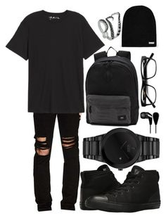 """Untitled #311"" by lmrecords ❤ liked on Polyvore featuring RtA, Public Opinion, Converse, Citizen, Vans, Neff, Skullcandy and allblackoutfit"
