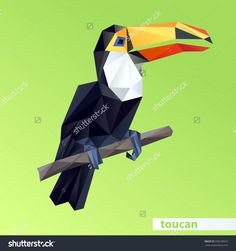 Vector - toucan geometric (illustration of a many triangles)