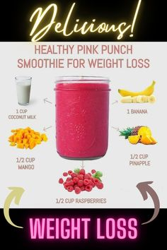 Weight Loss Smoothie Recipes, Fruit Smoothie Recipes, Yummy Smoothies, Smoothie Diet, Breakfast Smoothies For Weight Loss, Lunch Smoothie, Healthy Juice Recipes, Healthy Juices, Healthy Drinks