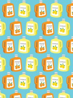 This hand drawn orange juice and lemonade bottle pattern card is a fresh way to write your friends and family to say hello, thank you or sharing the wonderful moments with them! This card is one of th