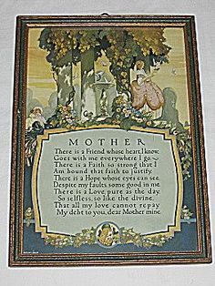 Special Buckbee Brehm Mother Motto Print Mother Poems, Mother Art, Vintage Pictures, Pretty Pictures, Best Motto, I Love Reading, Mottos, Embroidery Kits, Vintage Prints