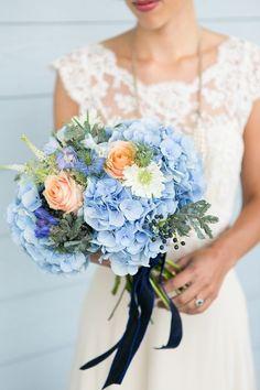 love the dark blue ribbon! Hydrangea Bouquets x www.wisteria-avenue.co.uk