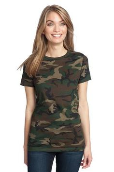 A camo crew tee will get you into military look, handsome and stylish even when the sun is burning heavily. District Made DM104CL - Ladies Perfect Weight Camo Crew Tee will be the best option for ladies who enjoys a camo look or those who have special complex in military style. Comes in 100% ring spun combed cotton, this tee has strong durability and excellent breathability, keeping every wearer in wonderful physical statement for any movement.