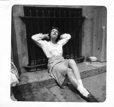 Black and White Vintage Snapshot Photograph Sexy Woman Relaxing Dress 1950's
