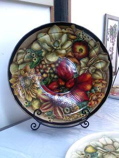 Acrylics on metal bowl