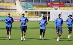 Team India players during a practice session at International Cricket Stadium in Dharamshala ahead of the start of the Nelson Mandela- Mahatma Gandhi T20 series starting on October 2, 2015. (PTI Photo)
