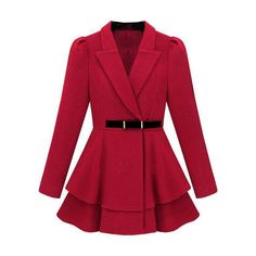 Layered Hem Red Coat ❤ liked on Polyvore featuring outerwear, coats, jackets, coats & jackets and red coats