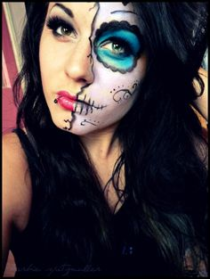 Skeleton Half Face Halloween Makeup Ideas