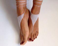 avorio perla di sandali a piedi nudi matrimonio di SibelDesign