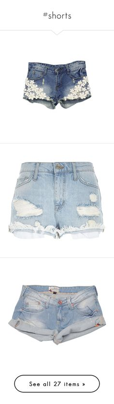 """""""#shorts"""" by ally-xcv ❤ liked on Polyvore featuring shorts, bottoms, romwe, jeans, distressed denim shorts, slim shorts, denim short shorts, lace shorts, destroyed shorts and short"""