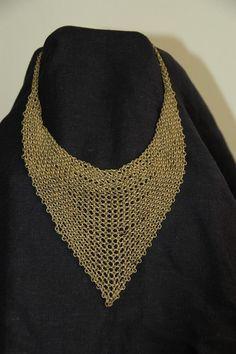 vintage mesh bib necklace