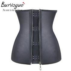 1835975dea Burvogue Steel Bone latex waist cincher underbust Plus Size 6XL Sexy corset  and  fashion
