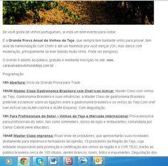 Continuação  - 'Caravana dos Vinhos do Tejo' - 'Grande Prova Anual de Vinhos do Tejo' no Site Vinhos de Corte, por Daniel Perches. Com Wine Senses.