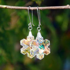 Swarovski AB Snowflake crystal earrings, swarovski earrings, snowflake earrings, silver snowflake earrings, swarovski snowflake pendants by KarmaKittyJewelry on Etsy