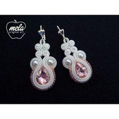 Kolczyki ślubne sutasz AMBRO biało-różowe- kryształki - delikatne - mela