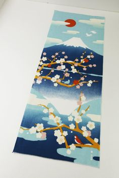 Japanese Tenugui mount fuji and sakura trees fabric, cute fabric tenugui, kawaii fabric, wall decoration, japnese curtain
