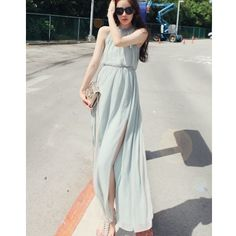 Light Blue Korean Women Bohemian Chiffon Dress Beach Fairy Dress... via Polyvore