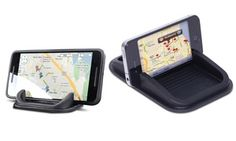 Standard or mini dashboard mounts stick firmly in place and hold smartphones in position for hands-free navigation