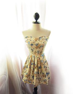 Autumn Chrysanthemum Falling Leaves Alice in Wonderland Brocade Antique Creamy Pale Yellow Blue Golden Floral Marie Antoinette Dress. $47.85, via Etsy.