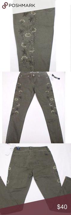 Olive Green Seven7 skinny jeans. Floral embroidery Super cute! Seven7 skinny jeans. Floral embroidery. Olive green. Seven7 Jeans Skinny