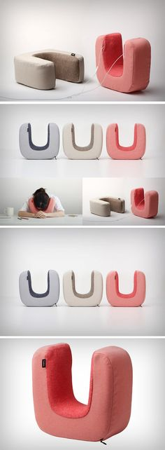 The Ototone pillow lets you take a break and rest your forehead against your workspace. Its horseshoe shape wraps around the sides of your head, not only  keeping your ears warm, but it even allows you slip your earphones into it via sleeves located on both sides. You can then grab a brief session of shut-eye while listening to some soothing music. Travel Design, Neck Pillow, Clever Design, Designer Pillow, Travel Products, Inventions, Households, Outdoor Travel, Industrial Design