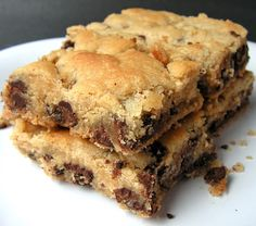 Blake's mom makes the most delicious chocolate chip cookie bars.  They are so fast and easy and buttery.  And if you don't hurry and have so...