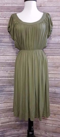 56a36eae5c0 Theory Womens Dress Green Cap Sleeve Ruched Size P knee length