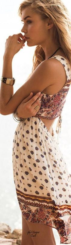 Boho . Maxi dress with cut out back