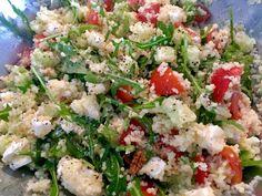 Sałatka z kaszą kuskus, serem feta i rukolą - Blog z apetytem Cobb Salad, Potato Salad, Potatoes, Lunch, Ethnic Recipes, Food, Drink, Diet, Potato