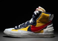 To know more about sacai, NIKE sacai x Nike Blazer Mid visit Sumally, a social network that gathers together all the wanted things in the world! Featuring over 99 other sacai, NIKE items too! Shoe Box, Shoe Collection, Navy And White, Air Jordans, Fashion Shoes, Sneakers Nike, Footwear, Yellow, Blue