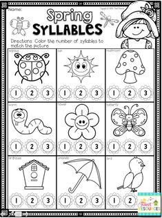 Kindergarten Math and Literacy Printables for Spring! Spring Worksheets - Everything About Kindergarten Syllables Kindergarten, Kindergarten Math Activities, Kindergarten Classroom, Classroom Ideas, Spring Activities, Students, Free Worksheets, Preschool Worksheets, Fun