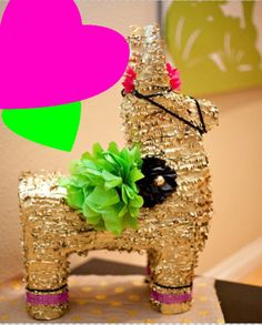 Full sized gold pinata -large pinata gold burro - mexican flowers - fiesta - mexican wedding decorations babyshower - cinco de…