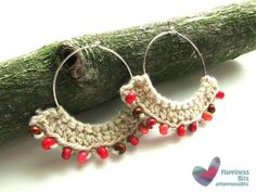 Crochet earring with beads  Ivory cotton yarn by HappinessBits
