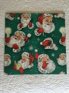 Vintage Hallmark Christmas Wrap Santa Claus X 2 Sheets NOS