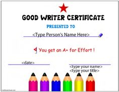 editable certificates for students