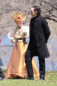 "#TomHiddleston and #MiaWasikowska on the set of ""Crimson Peak"". Costumes designed by #KateHawley"