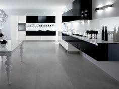 cuisine noire et blanche design minimaliste sol en béton ciré