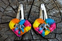 Rainbow Pop Tab Upcycled Crochet Heart Barrettes x2