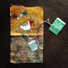 (a no-waste wonder!) 'Hand~painted recycled Tea Bags' ...  via; Journey of a Tea Bag