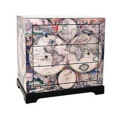 World Map Glass Chest of Drawers