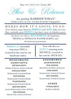 Funny Wedding Program by MissBeccasBoutique on Etsy https://www.etsy.com/listing/178098757/funny-wedding-program