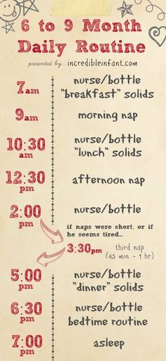 Check out this sample of a daily routine for a 6-9 month old child.