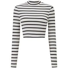 Miss Selfridge Striped Funnel Neck Top (585 CZK) ❤ liked on Polyvore featuring tops, shirts, crop tops, assorted, white striped shirt, white long sleeve top, white shirts, long sleeve crop top and white crop top