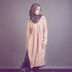 Dusty Pink Long Tunic Dress l| Light Brown Modal Hijab. http://www.inayahcollection.com/dusty-pink-long-tunic-dress-p-1265.html