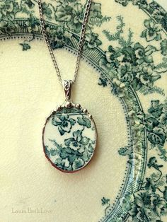 Broken china jewelry oval pendant necklace by dishfunctionldesigns, $45.00