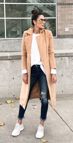 #fall #outfits brown coat. Click To Shop This Look.
