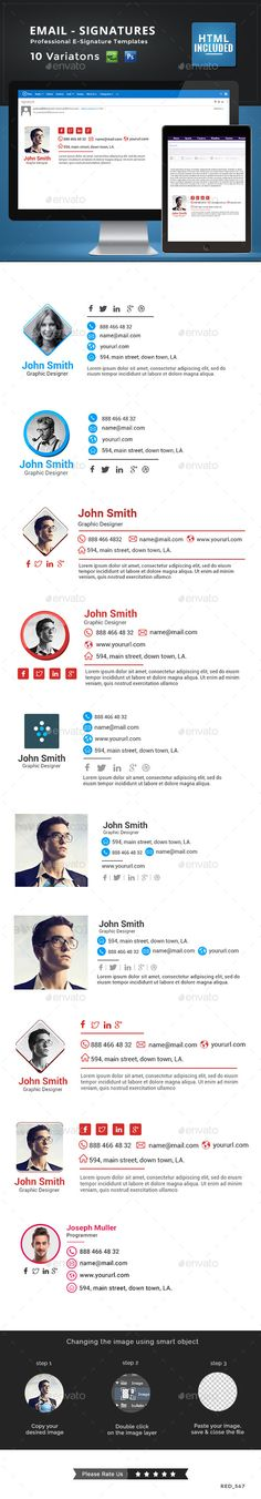 10 Email Signature Templates - HTML Files Included - Miscellaneous Web Elements